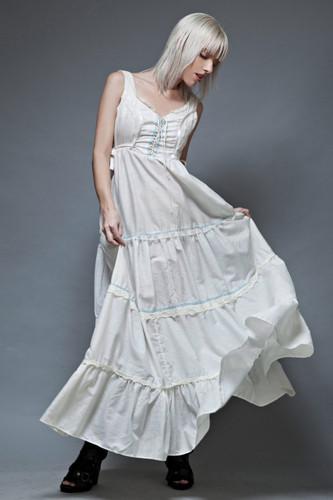 vintage 70s boho festival dress gypsy prairie white maxi tank soft cotton lace front M