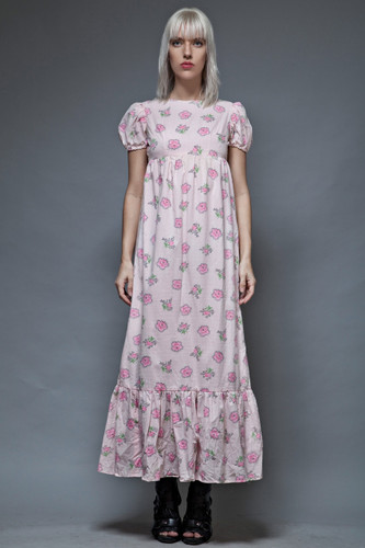 vintage 70s pink floral maxi prairie dress puff doll sleeves empire swiss dot S
