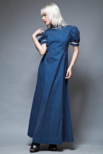 maxi dress prairie short doll sleeves vintage 70s navy white swiss dot L  :