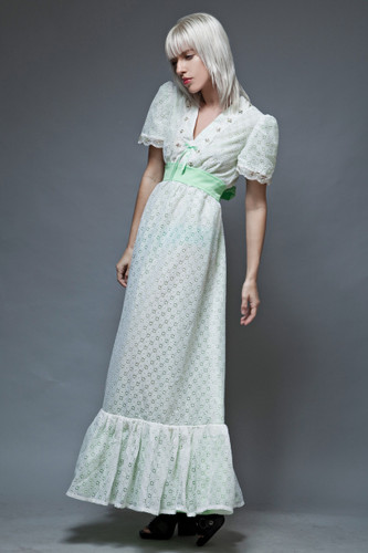boho dress prairie vintage 70s green white eyelet kawaii bow empire L  :