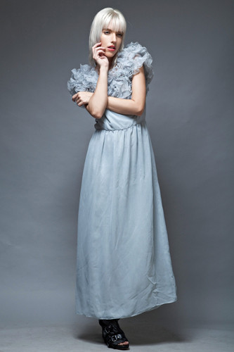 vintage 70s party maxi dress gown ruffles gray blue organza M