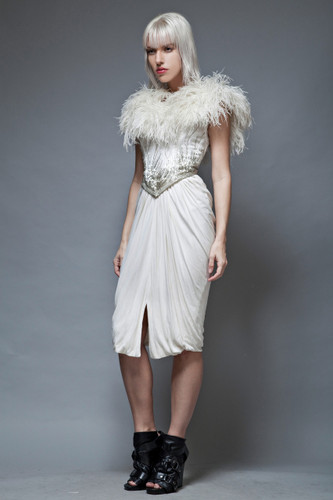 vintage 80s feather dress white ruched beaded Ruben Panis glam XXS XS