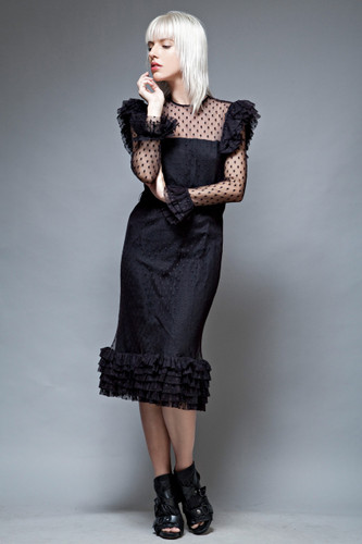 vintage 70s black widow mesh lace dress ruffles sheer swiss dot L