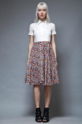 vintage 70s LANVIN dress shirtdress full circle skirt fruit floral cotton S
