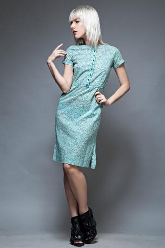 vintage 70s LANVIN dress shirtdress green stripes floral knee length S