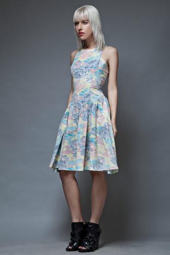 vintage 80s tank dress full skirt pastel floral cotton XS S M