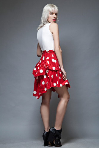 vintage 80s red polka dot dress tier layer sleeveless belt S