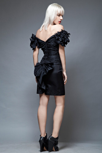 vintage 80s party little black dress LBD ruffles off shoulder tafetta XS