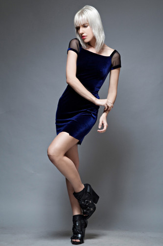 bodycon dress mini velvet blue sheer sleeves vintage 90s S M