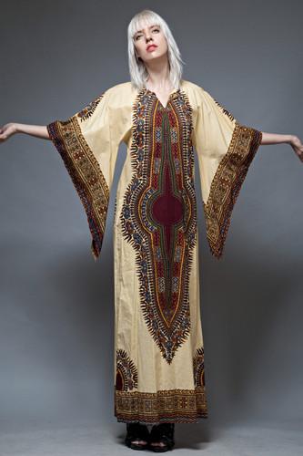 vintage 70s dashiki dress kaftan caftan boho cotton angel sleeves ethnic ONE SIZE