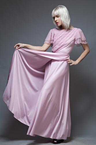 vintage 70s maxi dress wrap pink sheer ruffles short sleeves S
