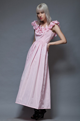 vintage 80s prom party maxi dress pink tafetta ruffled off shoulders M