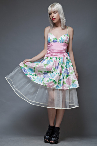Gunne Sax dress vintage 80s party prom floral tafetta pink crinoline S