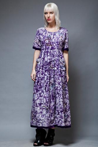 vintage 70s batik boho maxi dress African cotton purple hippie S M