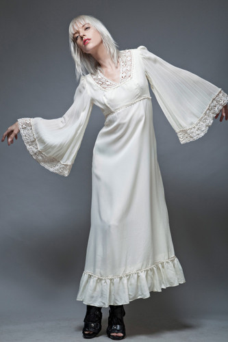 boho dress vintage 70s maxi hippie bride angel sleeves ivory crochet wedding S M  :