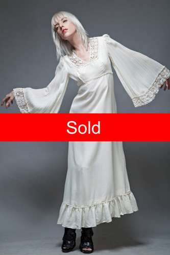 boho dress vintage 70s maxi hippie bride angel sleeves ivory crochet wedding S M  :