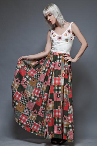 vintage 70s maxi dress cotton patchwork print floral applique M