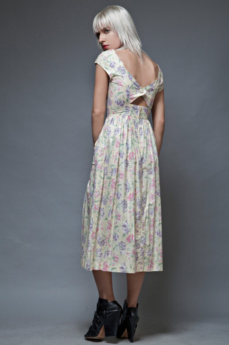 Laura Ashley cotton dress vintage 70s eggshell floral cutout keyhole back S  :