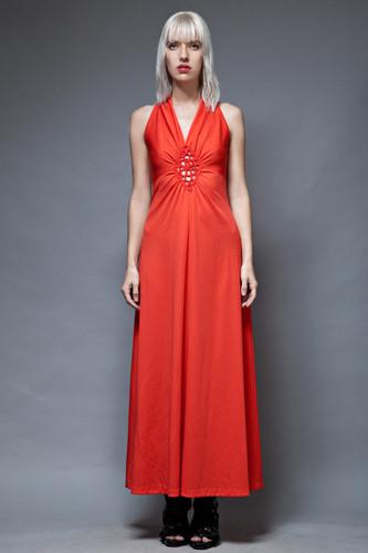 boho dress maxi vintage 70s red jersey knit gathered eyelet cutout sleeveless S M