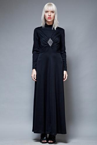 vintage 70s maxi dress gown black glam rhinestones long sleeves L XL