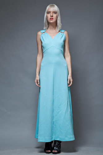 vintage 70s maxi dress empire light blue rhinestone rings shoulders M  :