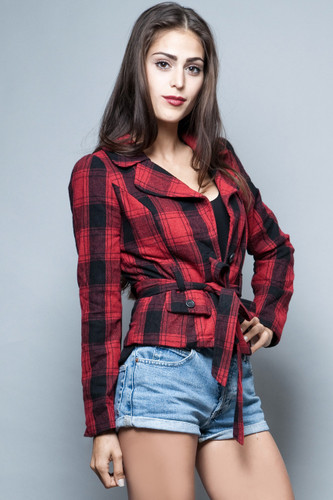 vintage 80s red plaid wool jacket slim fit tiny fitted top S