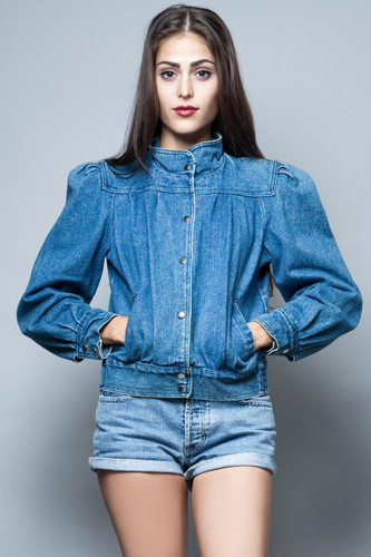 vintage 70s denim jacket jeans puff feminine coat top ONE SIZE