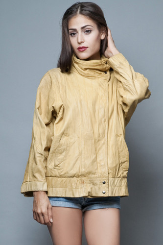 yellow leather jacket vintage 80s soft textured distressed L XL  :