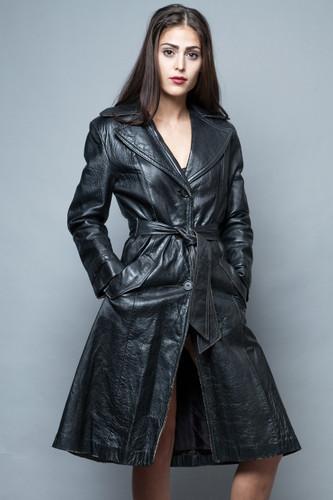 vintage black leather trench coat distressed jacket belted M