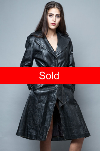 vintage black leather trench coat distressed jacket belted M  :