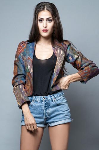 vintage 70s jacquard jacket blazer textured open front XXS XS