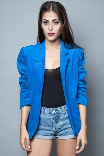 blue blazer jacket ultrasuede vintage 80s ultra soft faux suede L