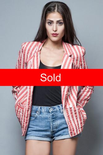 vintage 80s DVF Diane von Furstenberg 100% cotton blazer jacket red stripes L