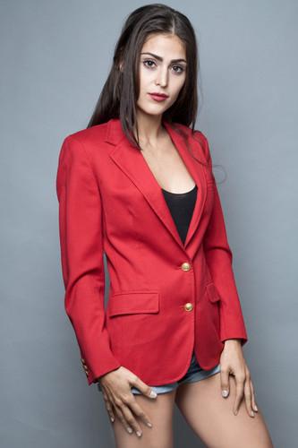 vintage red blazer jacket gold crested crest buttons M