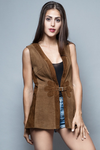 boho suede leather vest vintage 70s brown long belted S M