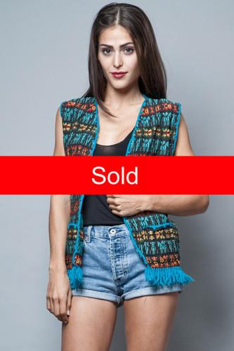 boho fringe vest vintage Mexican blanket blue embroidery S M