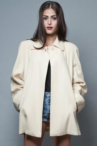 vintage 70s plus size swing coat short coat cream wool XL 1X