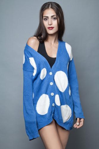 long cardigan sweater polka dot vintage 80s blue white oversized ONE SIZE