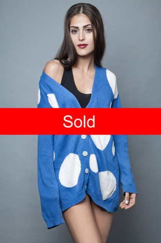 long cardigan sweater polka dot vintage 80s blue white oversized ONE SIZE