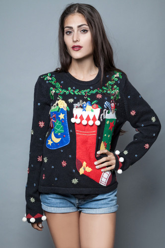 ugly sweater Christmas stockings jumper black applique embroidery ONE SIZE