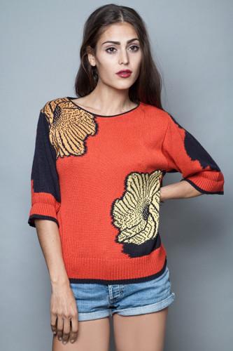vintage 80s sweater jumper half sleeves brick red large scale floral S