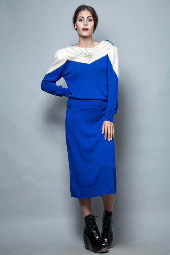 vintage 80s sweater dress long blue white angora beaded M