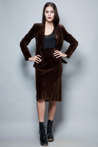 vintage 1970s skirt suit slim fitted jacket velvet chocolate brown pencil skirt S