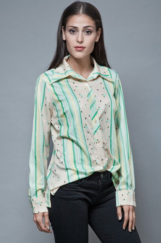 1970s pointy collar shirt vintage disco blouse green stripes flower printed L XL