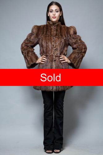 vintage 60s fur coat beaver coat brown puff shoulders princess M