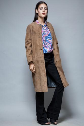vintage 60s brown suede coat leather cocoon coat L XL