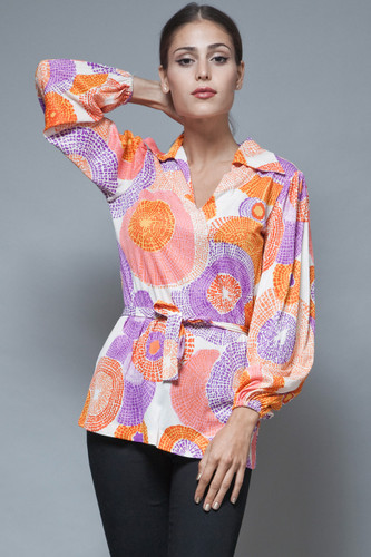 1970s boho top blouse poet puff sleeves belted firework psychedelic print S M