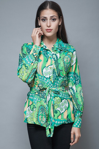 vintage 70s psychedelic paisley green blouse belted top M L