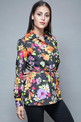 vintage 70s black floral belted top blouse colorful long sleeves M L