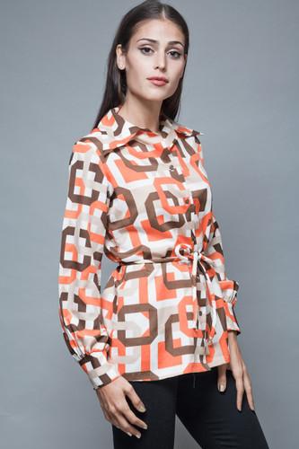 vintage 70s op art blouse shirt orange brown belted long sleeves L